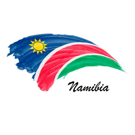 Watercolor painting flag of Namibia. Brush stroke illustration Иллюстрация