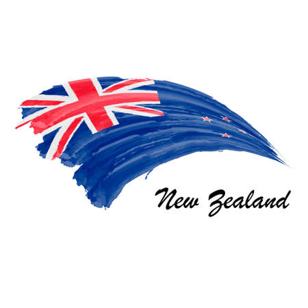Watercolor painting flag of New Zealand. Brush stroke illustrati Иллюстрация