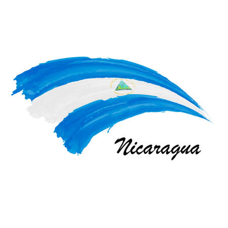 Watercolor painting flag of Nicaragua. Brush stroke illustration