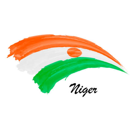 Watercolor painting flag of Niger. Brush stroke illustration