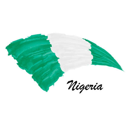 Watercolor painting flag of Nigeria. Brush stroke illustration Иллюстрация