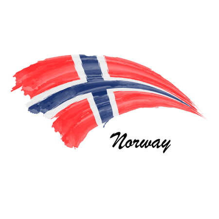 Watercolor painting flag of Norway. Brush stroke illustration Иллюстрация