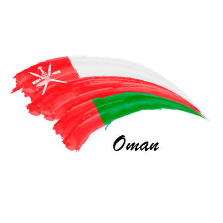 Watercolor painting flag of Oman. Brush stroke illustration