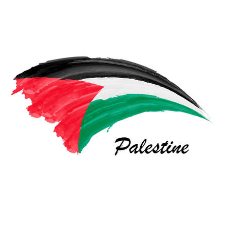 Watercolor painting flag of Palestine. Brush stroke illustration