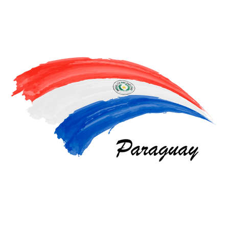 Watercolor painting flag of Paraguay. Brush stroke illustration
