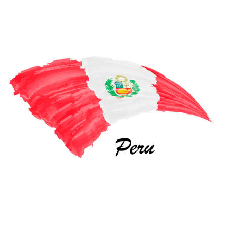 Watercolor painting flag of Peru. Brush stroke illustration