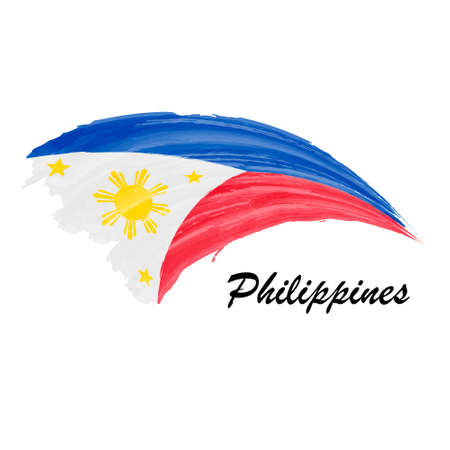 Watercolor painting flag of Philippines. Brush stroke illustrati