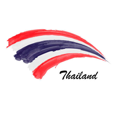 Watercolor painting flag of Thailand. Hand drawing brush stroke illustration Vetores