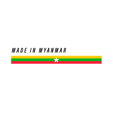 Made in Myanmar, badge or label with flag isolated on white background Ilustração