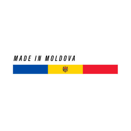 Made in Moldova, badge or label with flag isolated on white background