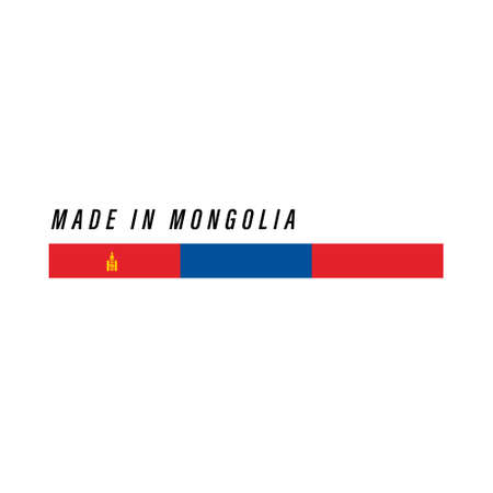 Made in Mongolia, badge or label with flag isolated on white background