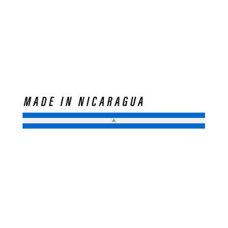 Made in Nicaragua, badge or label with flag isolated on white background