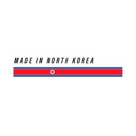 Made in North Korea, badge or label with flag isolated on white background