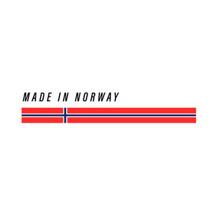 Made in Norway, badge or label with flag isolated on white background Ilustração