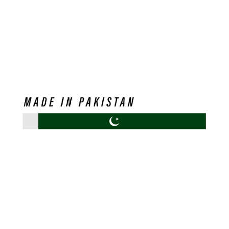 Made in Pakistan, badge or label with flag isolated on white background Ilustração