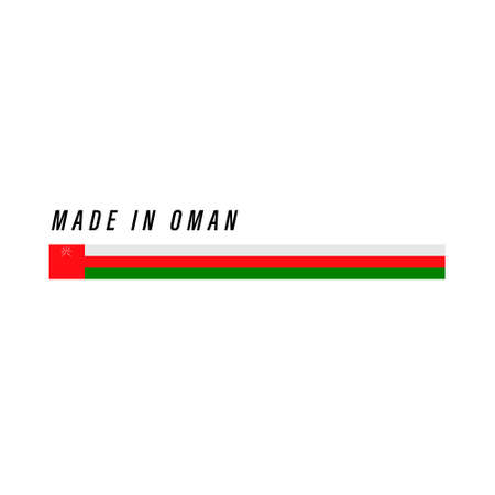 Made in Oman, badge or label with flag isolated on white background