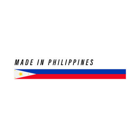 Made in Philippines, badge or label with flag isolated on white background