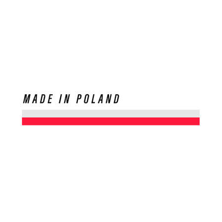Made in Poland, badge or label with flag isolated on white background