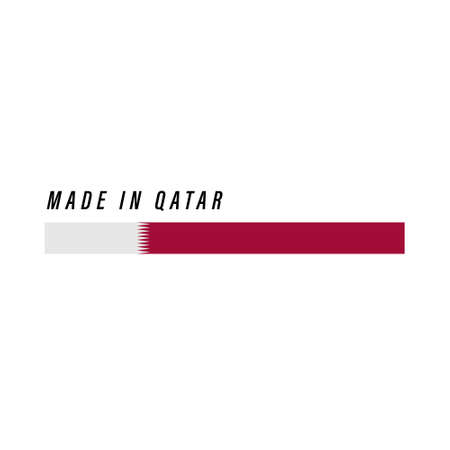 Made in Qatar, badge or label with flag isolated on white background Ilustração