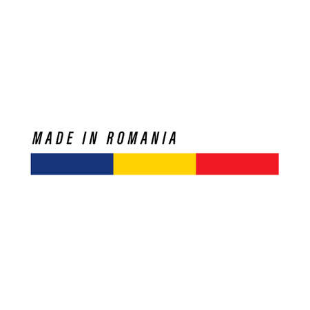 Made in Romania, badge or label with flag isolated on white background