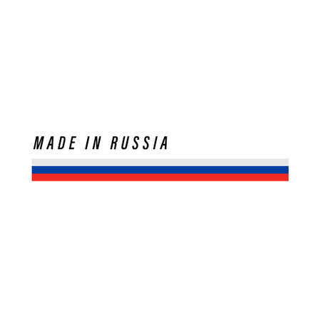 Made in Russia, badge or label with flag isolated on white background