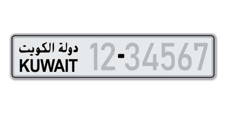 Car number plate. Vehicle registration license of Kuwait. With inscription Kuwait in Arabic. European Standard sizes Ilustração