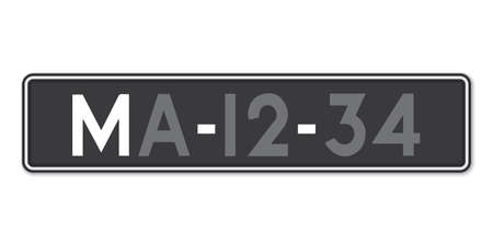 Car number plate. Vehicle registration license of Macao. European Standard sizes