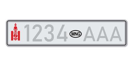 Car number plate. Vehicle registration license of Mongolia. European Standard sizes