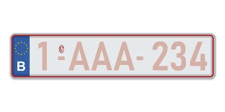 Car number plate. Vehicle registration license of Belgium. European Standard sizes