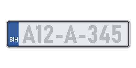 Car number plate. Vehicle registration license of Bosnia. European Standard sizes Ilustração
