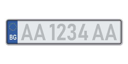 Car number plate. Vehicle registration license of Bulgaria. European Standard sizes Ilustração