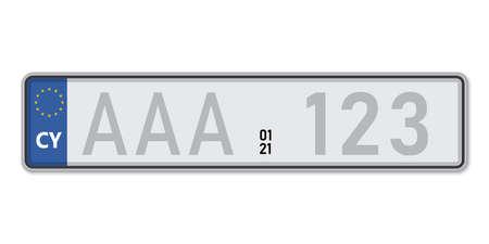 Car number plate. Vehicle registration license of Cyprus. European Standard sizes Ilustração