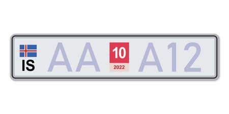 Car number plate. Vehicle registration license of Iceland. European Standard sizes