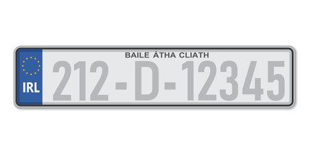Car number plate Dublin. Vehicle registration license of Ireland. European Standard sizes Ilustração