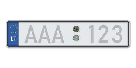 Car number plate. Vehicle registration license of Lithuania. European Standard sizes Ilustração