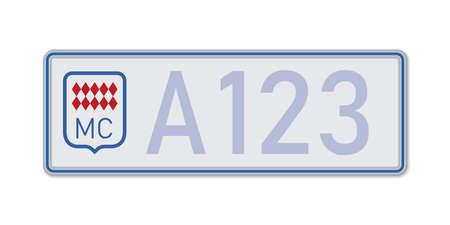 Car number plate. Vehicle registration license of Monaco. European Standard sizes Ilustração