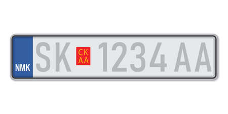 Car number plate. Vehicle registration license of North Macedonia. European Standard sizes