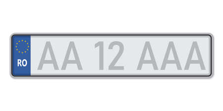 Car number plate. Vehicle registration license of Romania. European Standard sizes