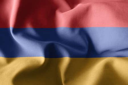 3d rendering realistic waving silk flag of Armenia