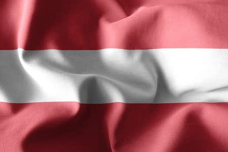 3d rendering realistic waving silk flag of Austria