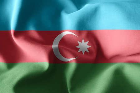 3d rendering realistic waving silk flag of Azerbaijan