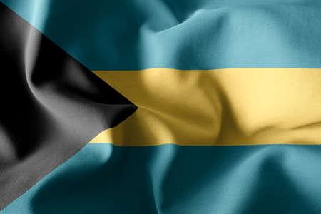 3d rendering realistic waving silk flag of Bahamas Imagens