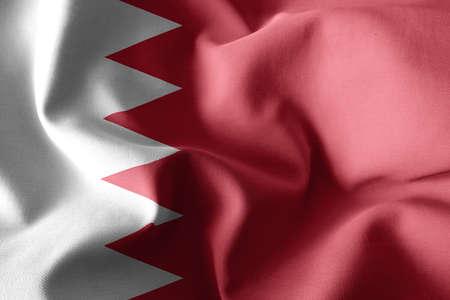 3d rendering realistic waving silk flag of Bahrain