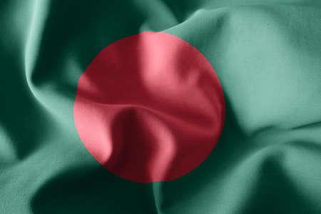 3d rendering realistic waving silk flag of Bangladesh Imagens
