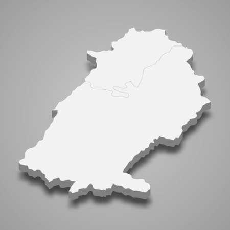3d isometric map of Baalbek-Hermel is a governatore of Lebanon, vector illustration