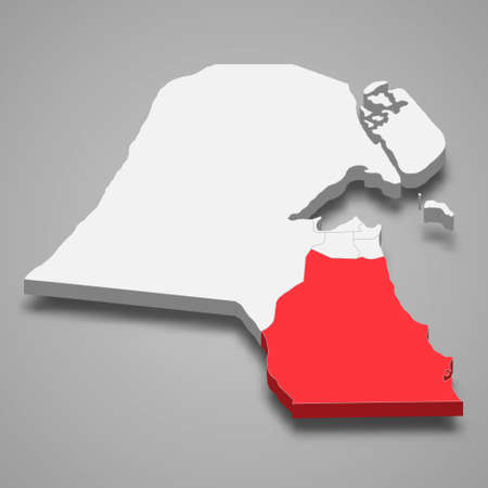 Ahmadi region location within Kuwait 3d isometric map
