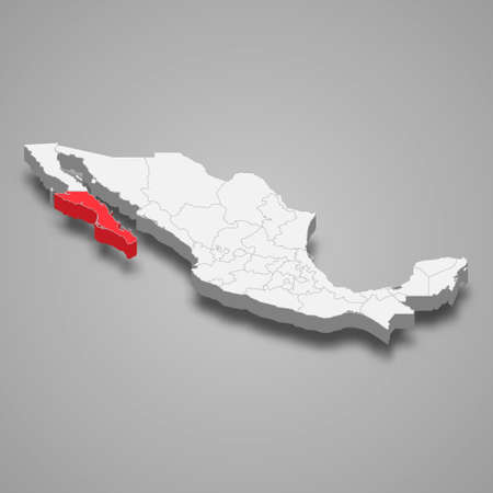 Baja California Sur region location within Mexico 3d isometric map