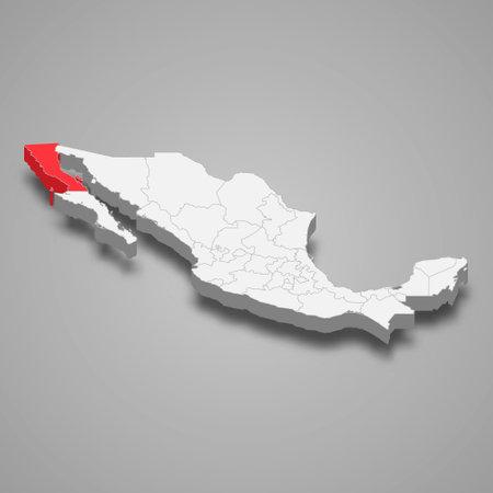 Baja California region location within Mexico 3d isometric map Ilustración de vector