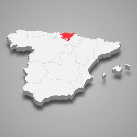 Basque Country region location within Spain 3d isometric map Vector Illustration