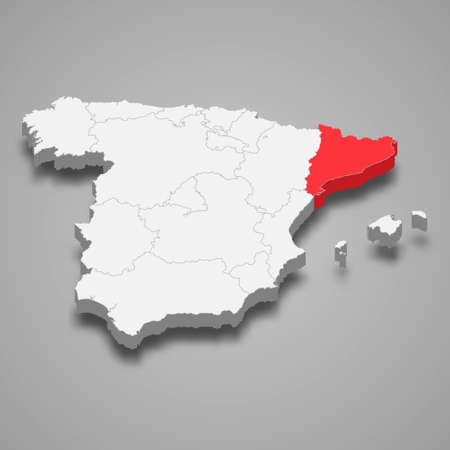 Catalonia region location within Spain 3d isometric map